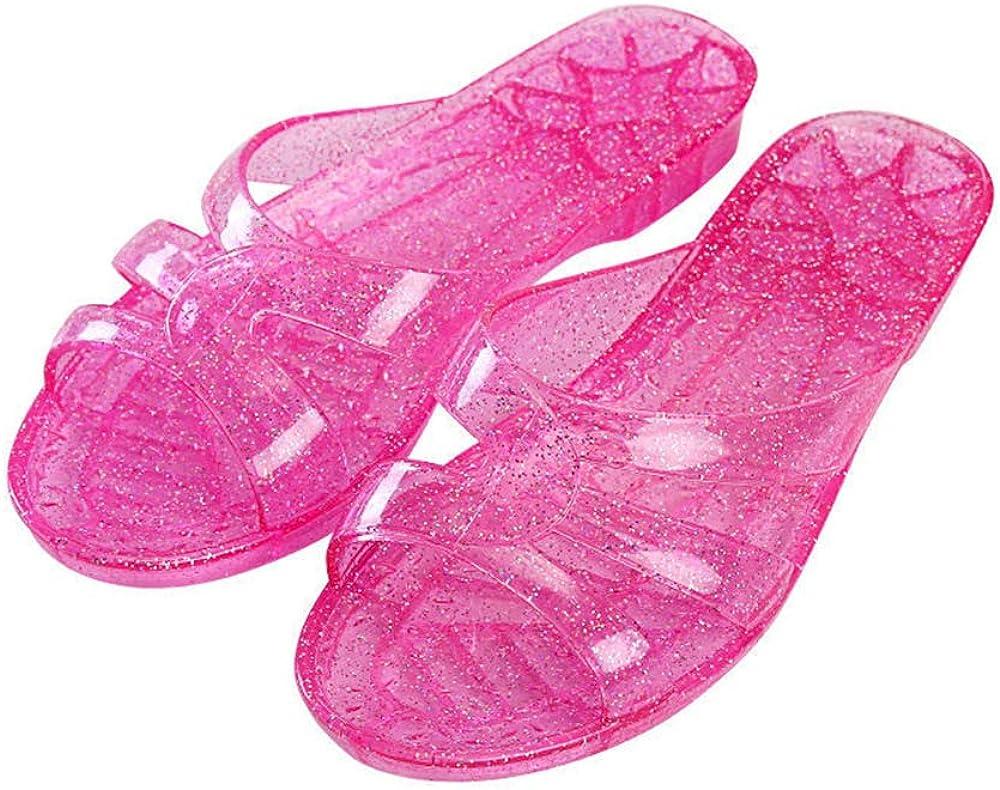 Women's Transparent Jelly Sandal Open Toe Glitter Slide Sandal L