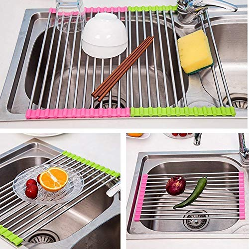 Ferbixo 1pcs Stainless Steel Colander Holder Storage Drainboard Folding Over Strainer Multipurpose Drainer Tray Sink Roll Up Dish Drying Rack Random Color