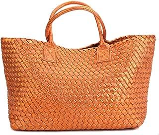 YXWL Snakeskin Hand-Woven Women's Bag 2019 Summer New European and American Tide Shoulder Shopping Basket Ladies Casual Bag (Color : Orange)