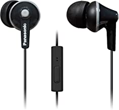 PANASONIC ErgoFit Earbud Headphones with Microphone and Call Controller Compatible with iPhone, Android and Blackberry - RP-TCM125-K - In-Ear (Black)