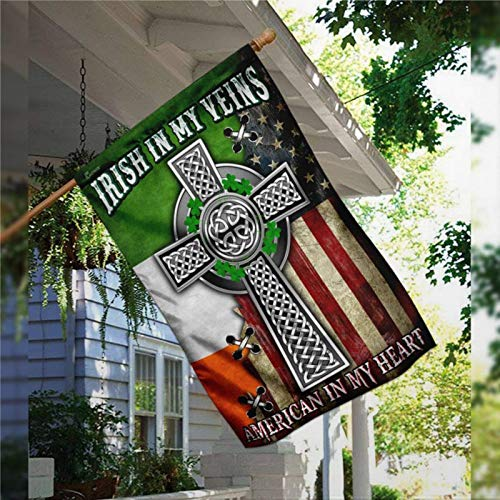 fuzes.f Irish in My Veins American in My Heart. Celtic Knot Cross Flag Garden Flag Peace Flag House Flag Farmhouse Peace Flag Rustic Country Decor Vertical Double Sided,Holiday Seasonal Decor