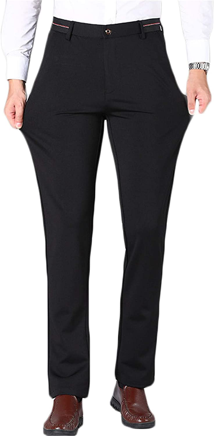 Andongnywell Men's Skinny Stretchy Pants Man's Slim Fit Slacks Tapered Trousers with Zipper Pockets