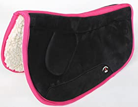 Equine Western Barrel Horse Saddle PAD 28X32 Double Back Fleece Black Pink 3991