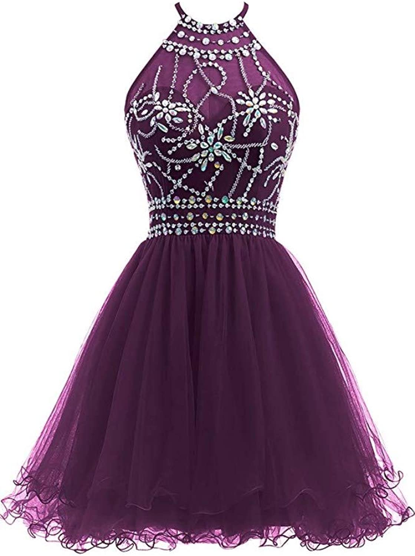 Ai Maria Women's Short Beaded Prom Dress Halter Homecoming Dress Backless