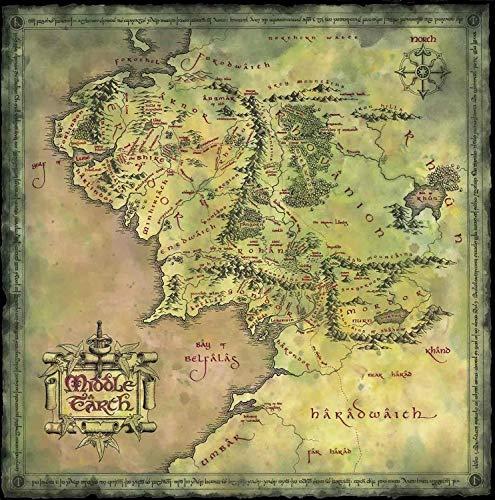 yaofale sans Cadre Seigneur des Anneaux Hobbit Carte de la Terre du Milieu Film Affiche rétro Affiche Style Décoration de La Maison Peinture 40x60cm