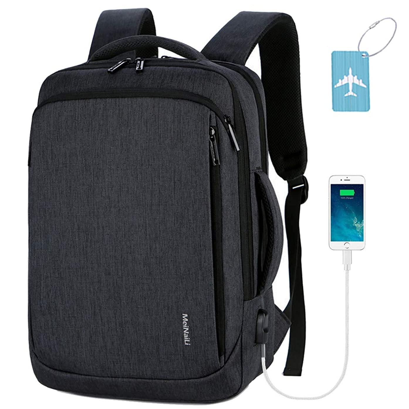 Business Travel Backpack,Laptop Backpack with USB Charging Port for Men Womens Boys Girls,Multifunction Water Resistant College School Bookbag Computer Bag Fits 15 15.6 inch Gray Black
