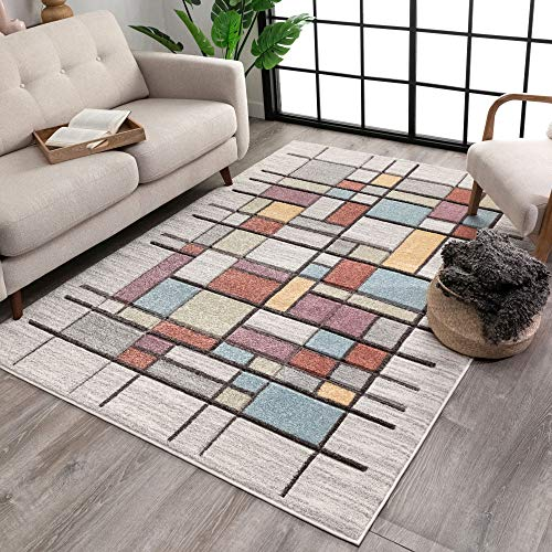 Well Woven Porta Soft Pastel Multi Color Boxes & Squares Geometric Area Rug 5x7 (5