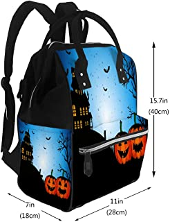 Diaper Bags Backpack Happy Halloween Card with Enchanted Castle Design Large Capacity Muti-Function Travel Backpack