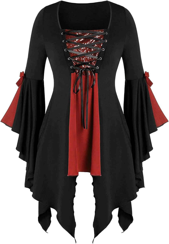 Women Halloween Gothic Criss Cross Sequined Insert Butterfly Sleeve T-Shirt Irregular Hem Flowy Tops