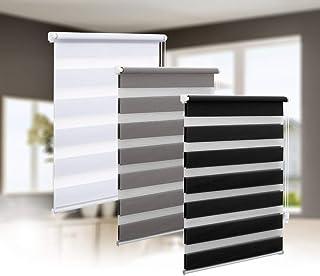 comprar comparacion Eurohome - Estor doble, montaje sin agujeros, transparente y opaco, evita que se vea el interior, con fijación de soportes...