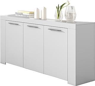 Habitdesign 006620A - Aparador Buffet Moderno Armario Auxiliar Comedor Color Blanco Artik Medidas: 144 cm (Ancho) x 80 ...