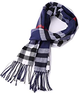 Men's Scarves Classic Arrival Spring Plaid Scarf Tassel Edge Soft Warm Scarf