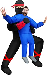 Camlinbo Inflatable Ninja Halloween Costume for Adults Ninja Holding Person Blow Up Halloween Costumes Cosplay Party