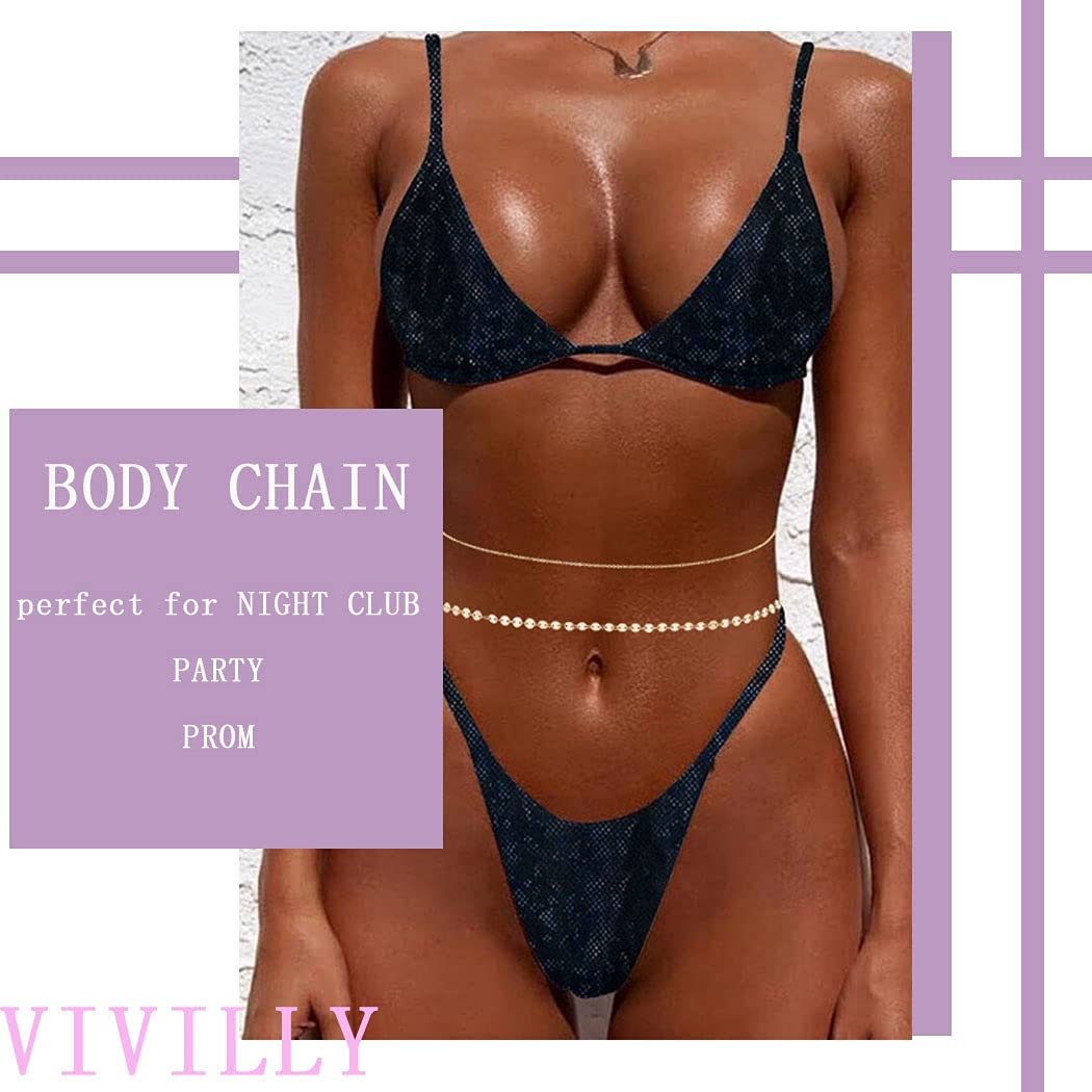 Vivilly Layered Waist Chains Gold Sequin Belly Chain Body Accessories Jewerly for Women and Girls
