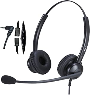 2.5mm Headset for Landline Phone Call Center Office Headset with Noise Cancelling Microphone for Panasonic Cordless Phone ...