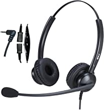 2.5mm Headset for Landline Phone Call Center Office Headset with Noise Cancelling Microphone for Panasonic Cordless Phone KX-TGF574 Cisco Linksys SPA 303G Grandstream Uniden and Other Dect Phones
