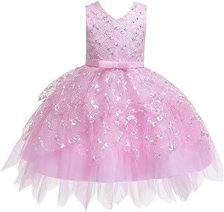Tsyllyp Girls Chritmas Princess Party Dress Lace Embroidered Irregular Mesh Bead Dresses