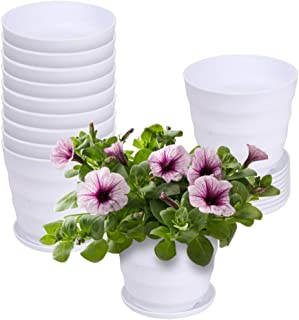 E-KNOW Flower Pots, Indoor Plant Pots Set of 12, Planter Pots with Drainage Hole and Tray, White Plastic Plant Pots for Indoor Outdoor, 4.5 inch