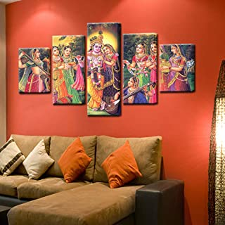 AIXYX Canvas Oil Paintings Wall Art Modular Home Decor Living Room 5 Pieces India Myth Lord Krishna Posters Vishnu Pictures-30x40cmx2,30x60cmx2,30x80cmx1