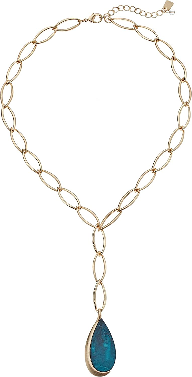 Robert Lee Morris Green Patina Link Lariat Necklace, Gold, One Size