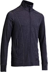 Yunoga Men's Long Sleeve Running, Training, Workout, Full-Zip Track Jacket-Grey Medium