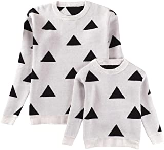 Mom&Me Girls Boys Women Sweater Long Sleeve Knitted Geometry Tops Family Matching Clothes