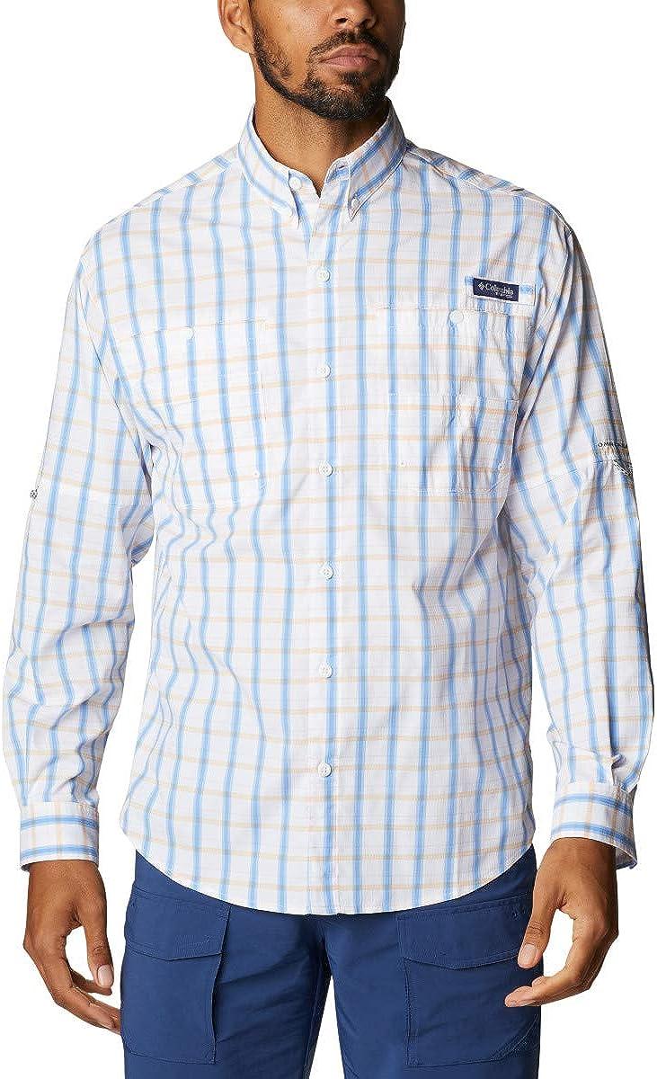 Columbia Men's Super Tamiami Long Sleeve Shirt, Plaid, Sail Plaid, X-Small