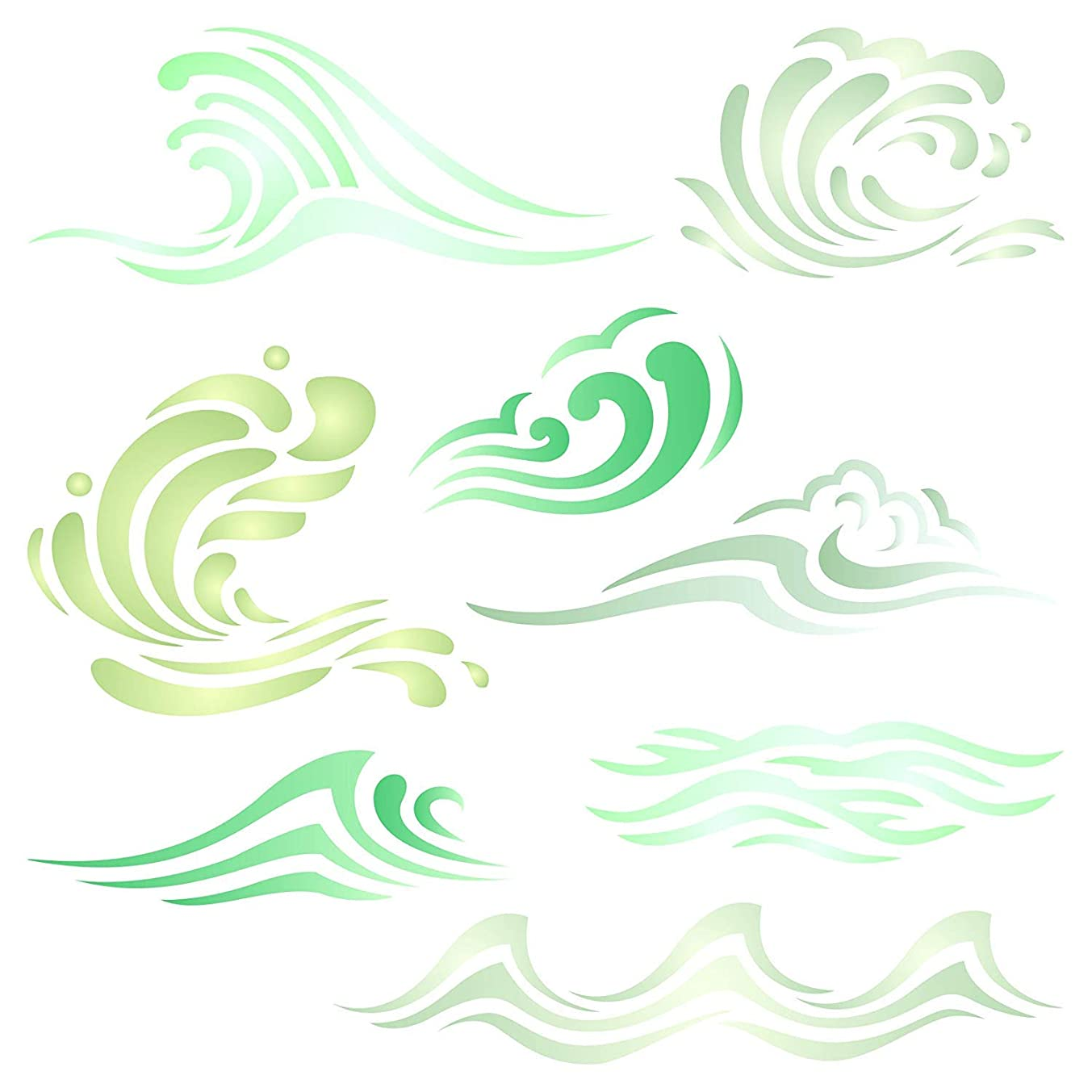 Waves Stencil - 4.5 x 4.5 inch (S) - Reusable Ocean Sea Wave Water Effect Wall Stencil Template - Use on Paper Projects Scrapbook Journal Walls Floors Fabric Furniture Glass Wood etc.