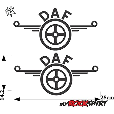 Myrockshirt 2x Dafaufkleber Logo 28x14cm Lkw Truck Trucker Aufkleber Anhänger Sticker Auto