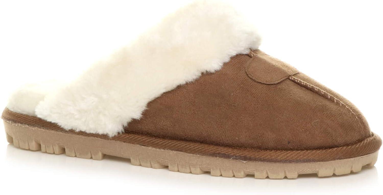Ajvani Women's Flat Low Heel Winter Fur Lined Luxury Mules Slippers Size 8 39