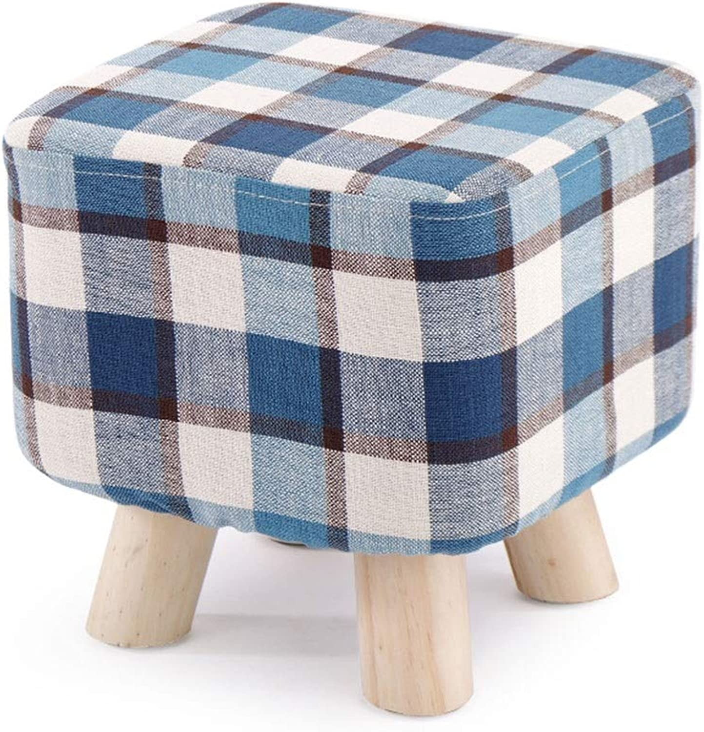 Zcxbhd Fashion Solid Wood Stool Creative Fabric Stool Home Non-Slip with Non-Slip Mat Footstool Load 150kg About (color   bluee)
