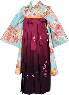 ジュニア女の子着物袴セット 水色 梅×ワイン刺繍