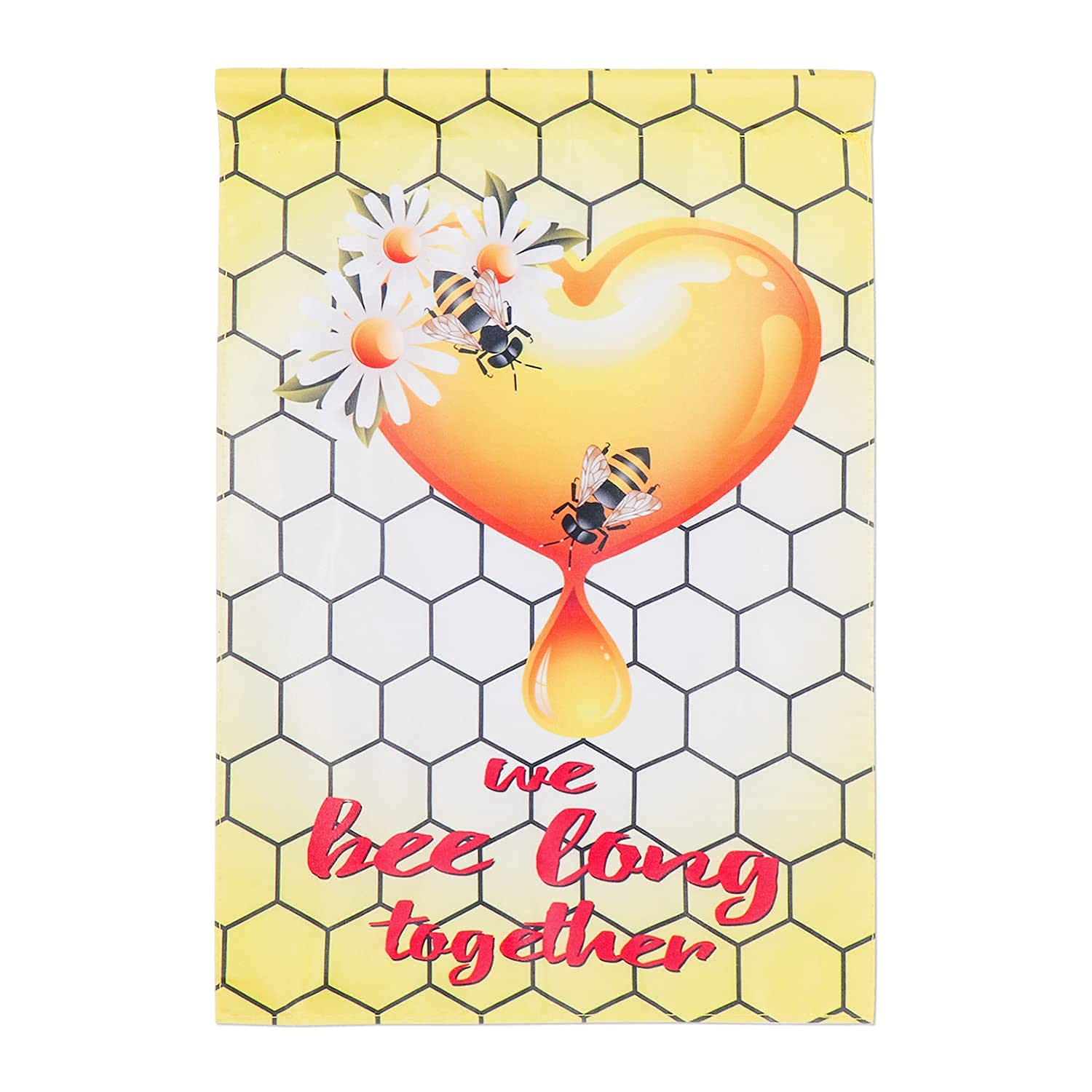 Bee Garden Flag, Summer Honeycomb Heart Garden Flag for Yard Porch Lawn, Double Sided Vertical Flag Outdoor Decoration 17.7 x 11.8 Inch