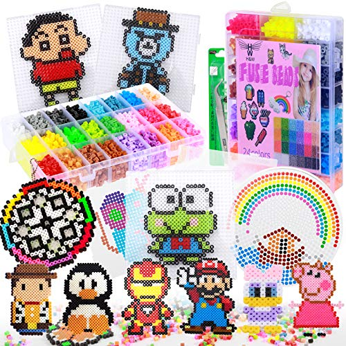 H&W 24 Colors 5mm Fuse Bead Set for Kids, Add 4200 Crafting Melting Beads, Color...