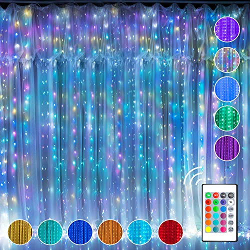 Curtain Fairy Lights Window String Light, Multi Colour Changing Twinkle Lights, 300 RGB USB Powered Waterproof LED Light with Remote Control & Timer for Valentine's Day Bedroom Wedding Party Christmas