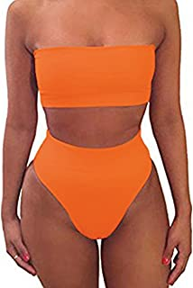Strapless Two Piece Bathing Suit Sexy Cute High Waisted Bikini Top Swimsuits for Women