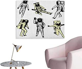 Astronaut Wall Paper Astronauts with Various Movements Kicking Jumping Walking Space Science Fun Poster Print Black White W36 xL32