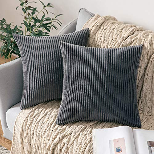 MIULEE Set of 2 Striped Corduroy Square Throw Pillow Case Cushion Cover Sham Home for Sofa Chair Couch/Bedroom Decorative Pillowcases 20x20 Inch 50x50cm