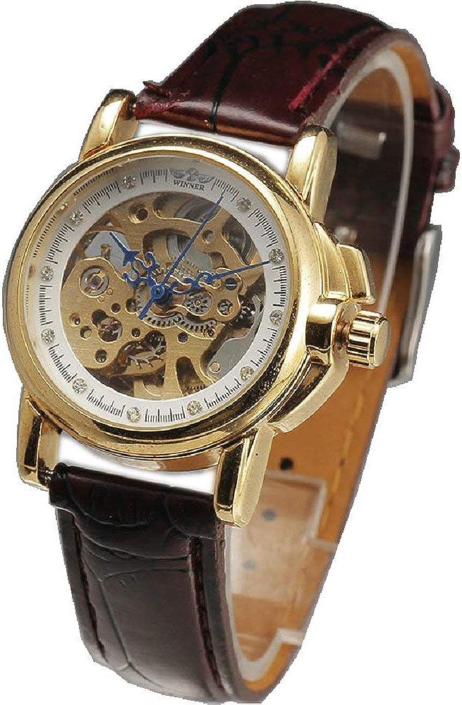 Winner Brand Bargain sale Luxury 2021 Gold Steel Case Rhi Women Leather Brown Band
