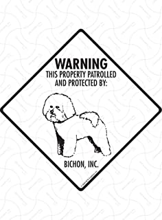 PP2396 WARNING AREA PATROLLED BY BICHON FRISE Plate Chic Sign Home Store Decor