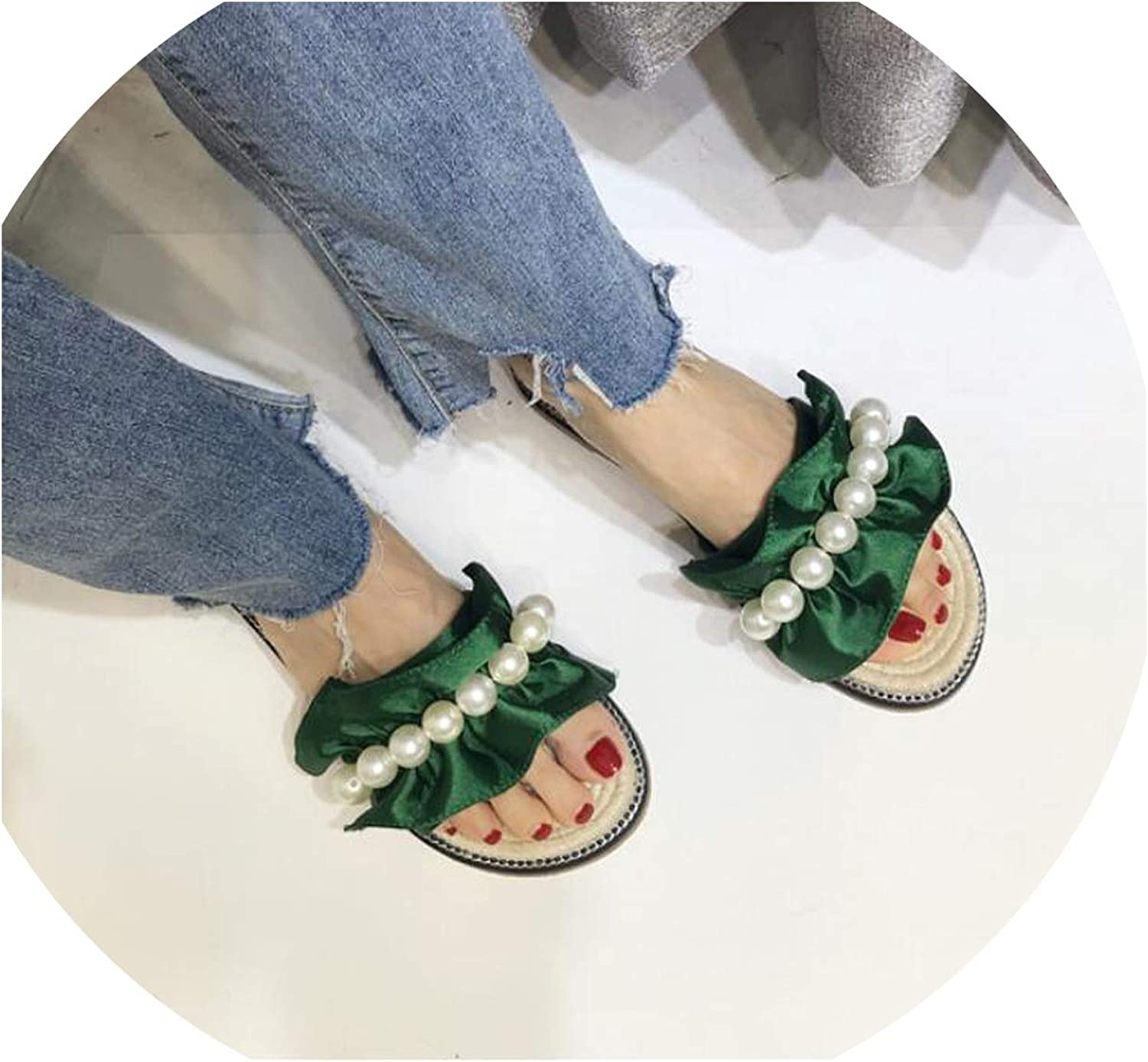 Beading Ruffles Slides Womendesign Pearl Decorate Slippers Woman Straw Knitting Flip Flops Woman Fisherman shoes Summer