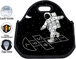 ENPENGOOD Moon Astronaut Play Game Tin Foil Lunch Bag Waterproof Bento Tote Boxes Leakproof Snack Handbags