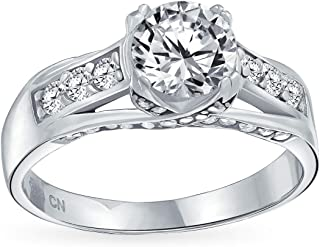 2CT Round Brilliant Cubic Zirconia Sterling Silver Criss Cross Band Crown Mount Solitaire AAA CZ Engagement Band Ring