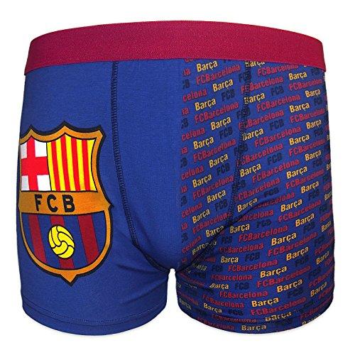 FC Barcelona officiel - 1 boxer thème football - avec blason - garçon - Bleu - 7-8 ans