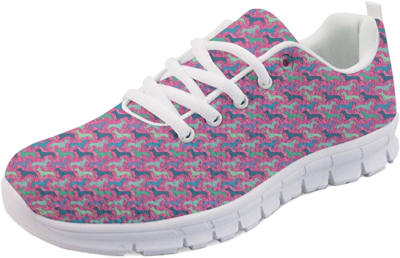 HUGS IDEA Women's Lightweight Running Walking Sneakers Puppy Pattern Tennis shoes