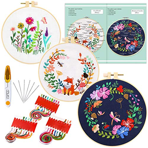 Caydo 3 Sets Embroidery Starter Kit with Pattern and Instructions, Cross Stitch Kit for Adults, with 3 Plastic Embroidery Hoops, Embroidery Clothes, Color Threads and Tools