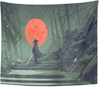 83f3f862f Emvency Tapestry Mandala 50x60 Inches Watercolor Samurai Standing On  Stairway in Night Forest with The Red
