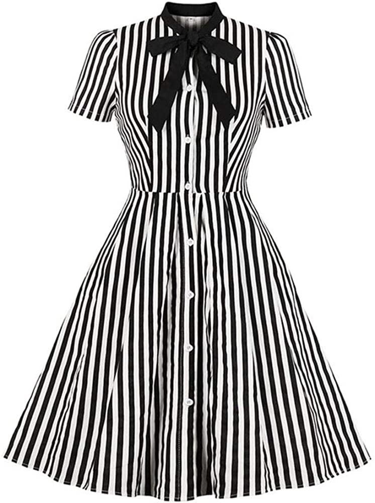 Women's Vintage Costume Stripe Midi Factory outlet Tie Popular products Elegant Bow Collar Dress
