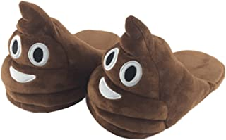 Winter Unisex Home Slippers Soft Plush for Adults Kids Bedroom Funny Emoji Shoes Smiley Poop Comfy Socks Cotton Shoes with Non-Skid Footpads