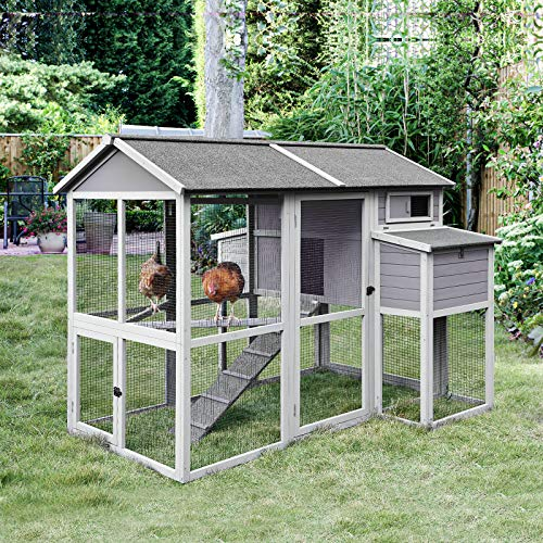 Chicken Coop Large Hen House Wooden Poultry Cage with Two Nesting Box and Four Perches for 6-10 Chickens